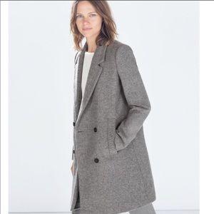 Zara trf grey masculine wool coat long jacket